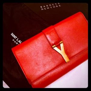 Red YSL Classic Y Clutch